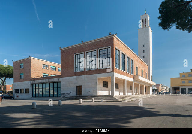 Town Hall with its tower, monumental architecture, Italian Rationalism, Sabaudia, Lazio, Italy - Stock Image