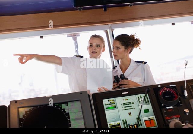 Two female sailors on ship - Stock Image