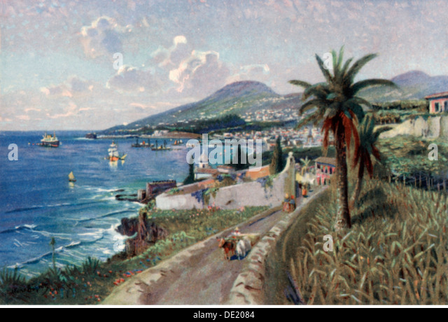 geography travel Portugal Isle of Madeira Funchal view art postcard 1920s isle islands sea seas Atlantic Ocean Atlantic - Stock-Bilder
