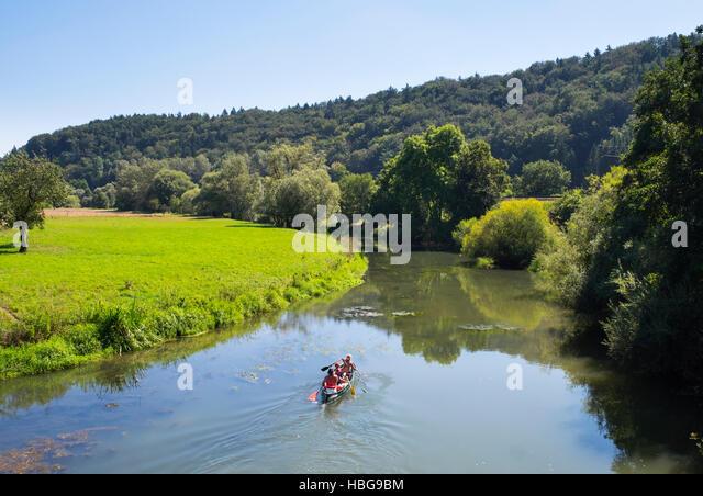 Canoeing on River Altmühl, Esslingen bei Solnhofen, Altmühltal, Middle Franconia, Franconia, Bavaria, - Stock Image