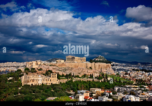 The Acropolis of Athens under a cloudy sky. - Stock Image
