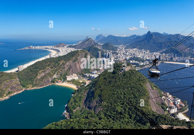 High Angle View from the Sugarloaf Mountain, Rio de Janeiro Brazil - Stock Image