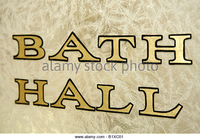 Arkansas Hot Springs Hot Springs National Park Bathhouse Row Fordyce Bath House Visitor Center interior door sign - Stock Image
