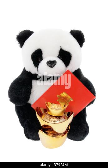 Toy Panda with Chinese New Year Decorations - Stock Image
