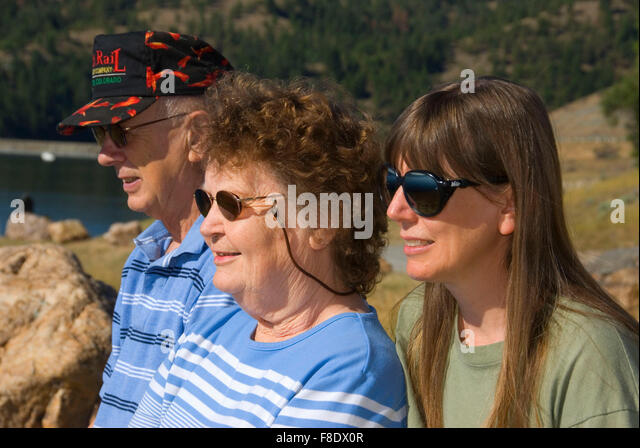 Family at Canyon Ferry Lake, Lewis and Clark County, Montana - Stock Image