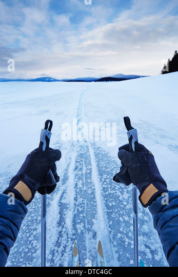 Male arms holding skipoles in vast landscape, Colter Bay, Wyoming, USA - Stock Image