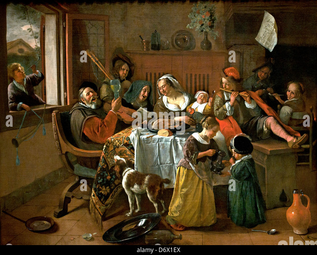 The Merry Family 1668 Jan Havickszoon Steen 1626 - 1679 Netherlands Dutch Holland - Stock-Bilder
