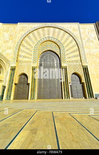 Casablanca Morocco Hassan II Mosque external door detail - Stock Image