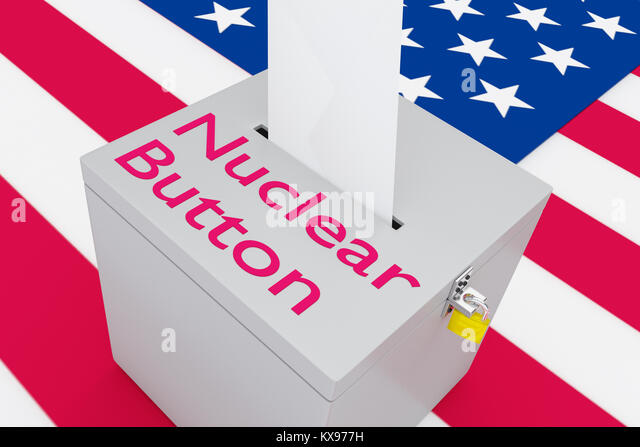 3D illustration of Nuclear Button script on a ballot box, with US flag as a background. - Stock Image