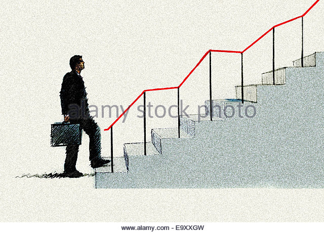 Optimistic businessman climbing graph staircase - Stock Image