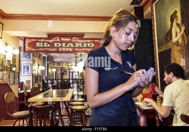 Spain Europe Spanish Madrid Centro Barrio de las Letras neighborhood Calle de Las Huertas El Diario de Huertas restaurant - Stock Image