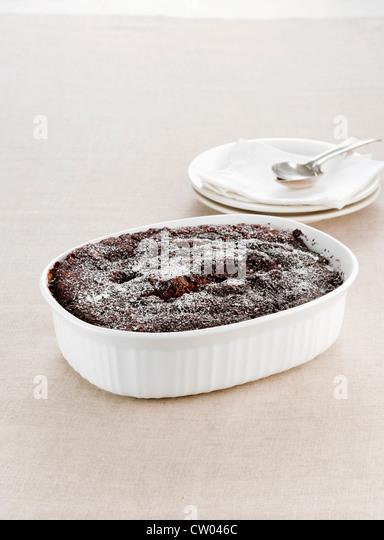 Dish of chocolate pudding - Stock-Bilder