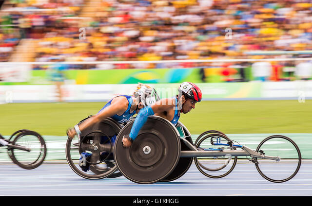 Rio de Janeiro, Brazil. 10th Sep, 2016. Gianfranco Iannotta of the USA competes in the Men's 100m - T52 Final - Stock-Bilder
