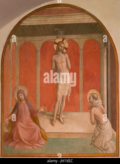 The Flagellation, by Fra Beato Angelico, circa 1442, Convent of San Marco, Florence, Tuscany, Italy, Europe - Stock Image