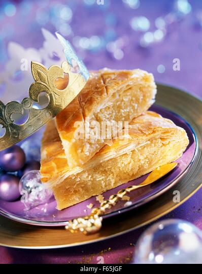 galette des rois flaky pastry and almond cake - Stock Image