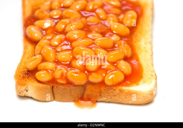 Beans on toast with selected focus - Stock Image