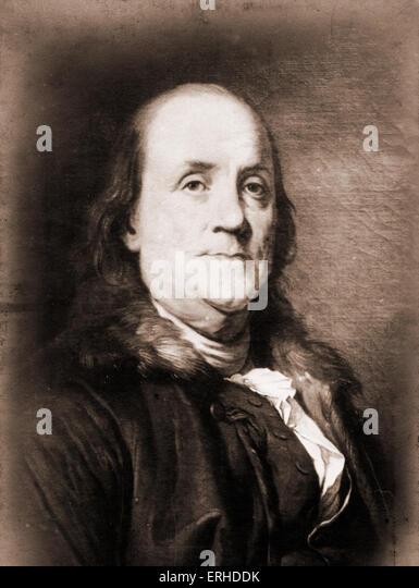 Benjamin Franklin, American scientist, inventor, statesman, printer, philosopher, musician and economist, 1706-1790. - Stock Image