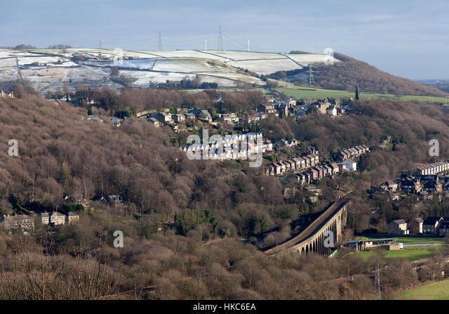 Wintry view over the Calder Valley, Copley, West Yorkshire - Stock Image