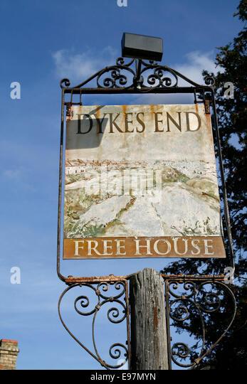 Dyke's End Inn  sign Reach Cambridgeshire England UK - Stock Image
