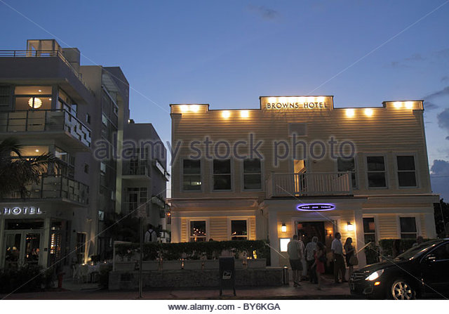 Miami Beach Florida Ocean Drive Browns Hotel Prime One Twelve 112 restaurant night nightlife - Stock Image