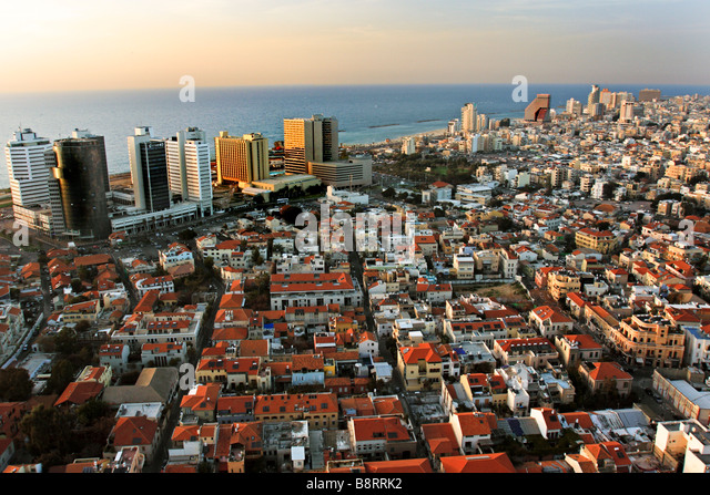 Israel Tel Aviv Elevated view of the city and coastline - Stock Image