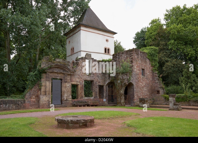 View of Altes Schloss, Old castle with decayed wall, Dillingen, Saarland, Germany, Europe - Stock Image