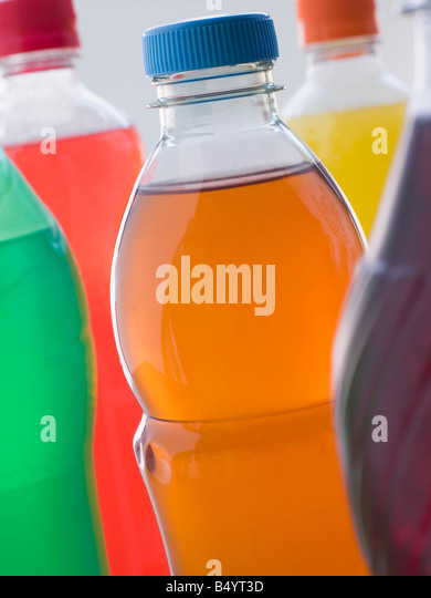 Selection Of Fizzy Drink Bottles - Stock Image