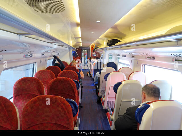 Interior of Virgin WCML train, Glasgow to Euston - Stock Image