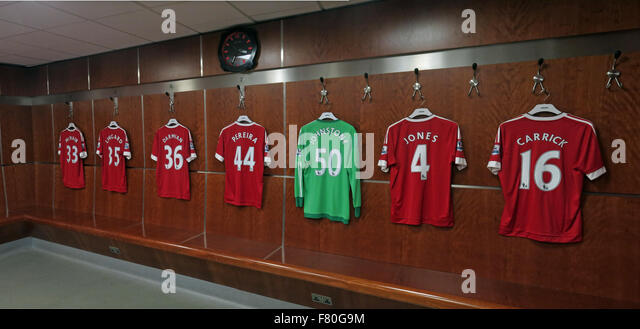 Soccer Shirts in Manchester United Dressing Room, Old Trafford, Manchester, England,UK - Stock Image