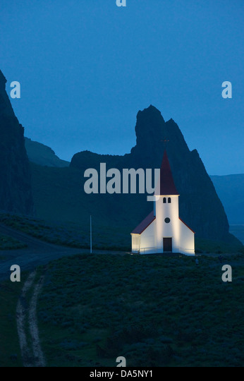 Church in Vík-í-Mýrdal at night Iceland Europe Atlantic Ocean - Stock Image