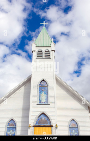 Church steeple and sky. - Stock Image