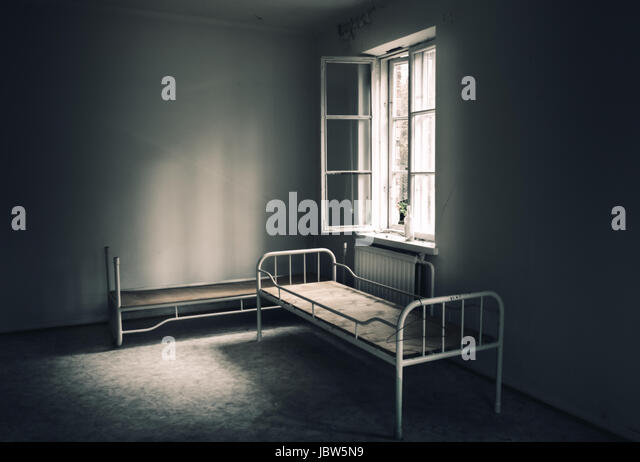 Dark room in the abandoned house - Stock Image