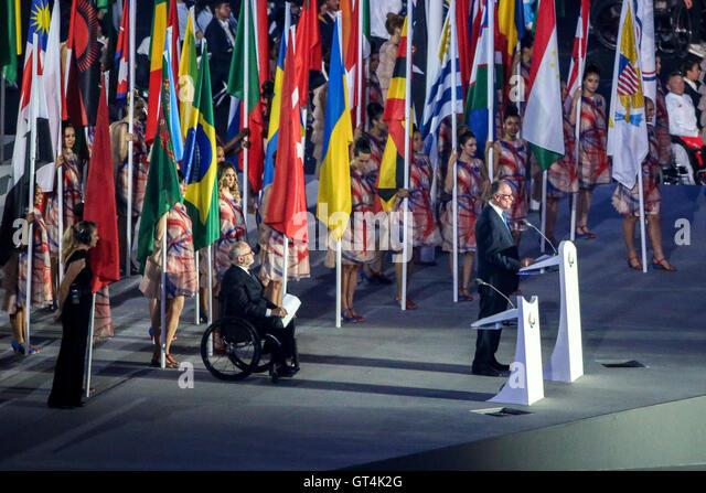 RIO DE JANEIRO, RJ - 07.09.2016: OPENING PARALIMPÍADA 2016 - Carlos Arthur Nusman makes pronuncimento opening - Stock-Bilder