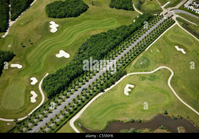 The Netherlands, near Den Bosch, Golf course belonging to Haverleij castles. Aerial. - Stock Image