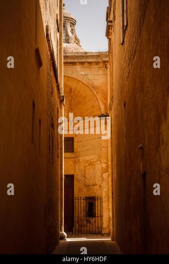 Old street in Mdina, malta - Stock Image