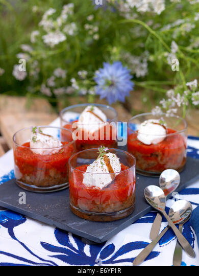 Eggplant caviar with creamed peppers - Stock Image
