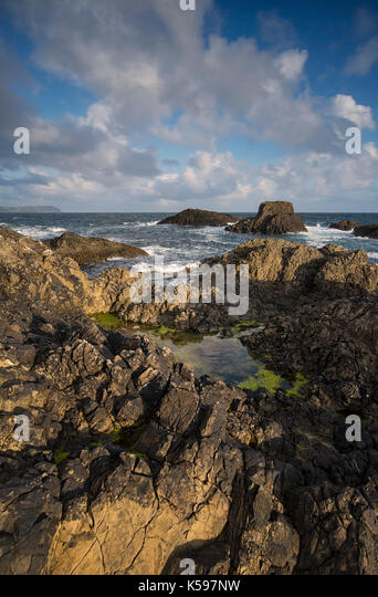 View of the Causeway Coast at Ballintoy Harbour, County Antrim, Northern Ireland, a location for TV series Game - Stock Image