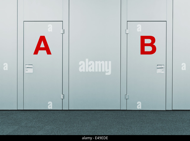 Closed doors with A and B marks. Concept of choice, decision making, options, strategy and dilemmas. - Stock Image