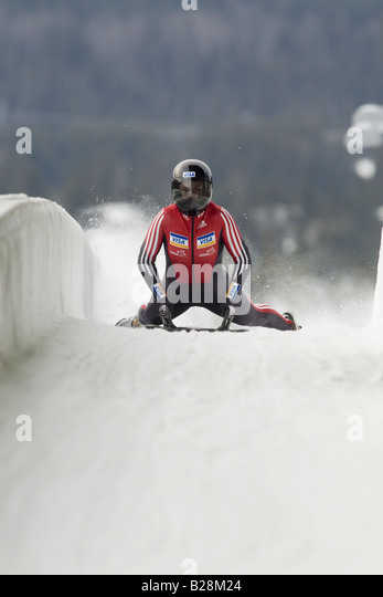 Skeleton racing at the Whistler Sleding Centre British Columbia Canada - Stock Image