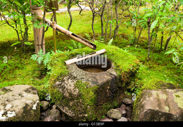 Japanese water bamboo fountain with moss - Stock Image