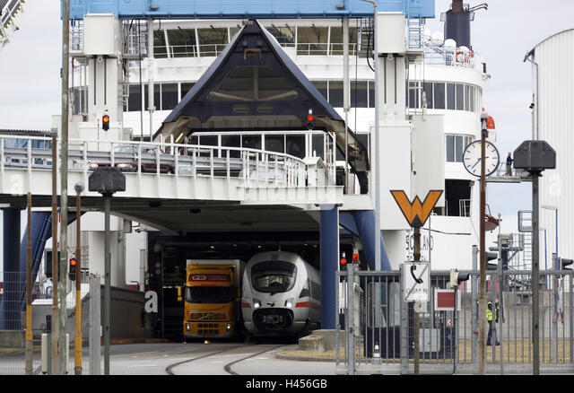 Intercity express, truck, cars, ferry, - Stock-Bilder