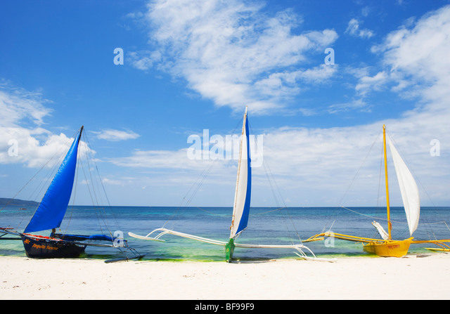Sail boats on beach Boracay; The Visayas; Philippines. - Stock Image