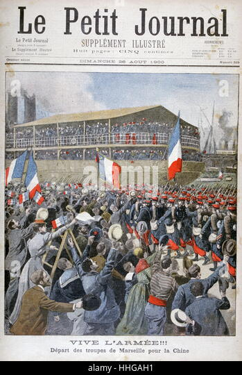 French forces depart from Marseilles to fight against the Boxer Rebellion, 1900. - Stock Image