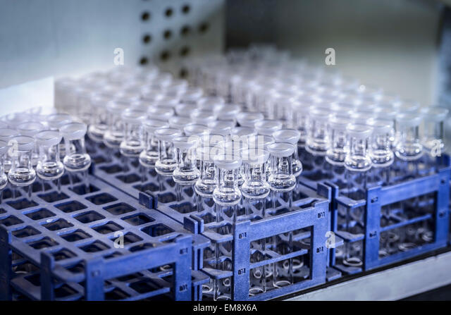 Glass parts in industrial glass factory - Stock Image