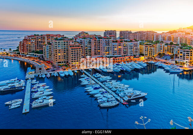 Monaco, Fontvielle Harbour - Stock Image