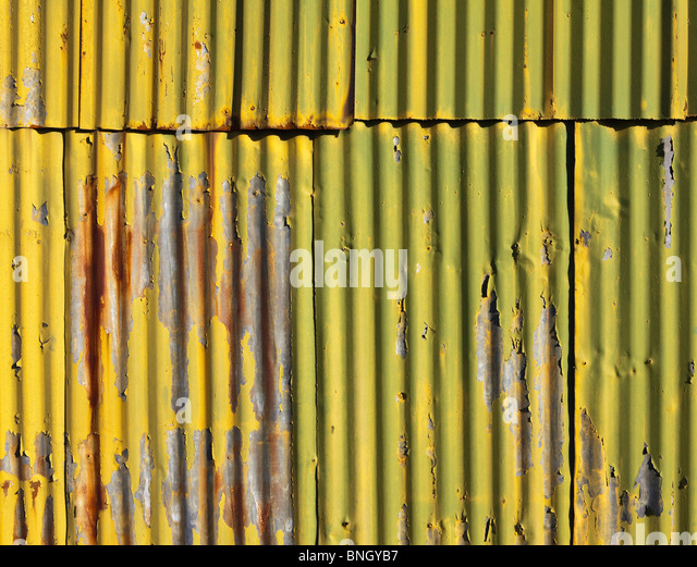 Close-up of a corrugated metal wall, Seattle, Washington State, USA - Stock Image
