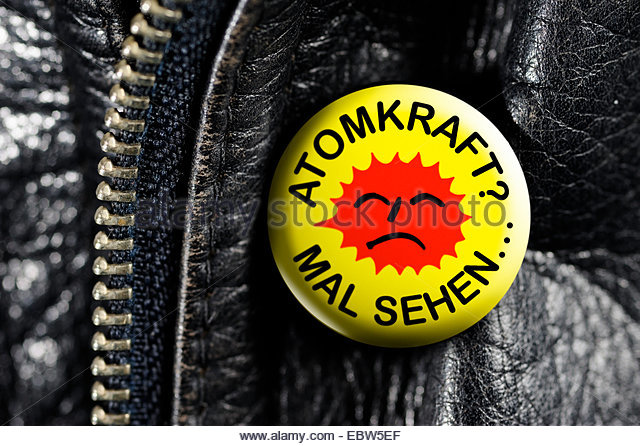 leather jacket with button Atomkraft? - Mal sehen... - Stock Image