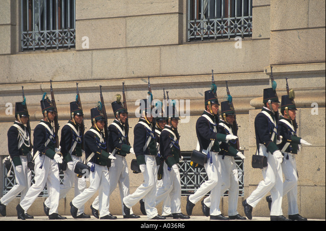 Uruguay Montevideo legislative ceremonial palace guard Plaza de Armas Square tourist attraction - Stock Image