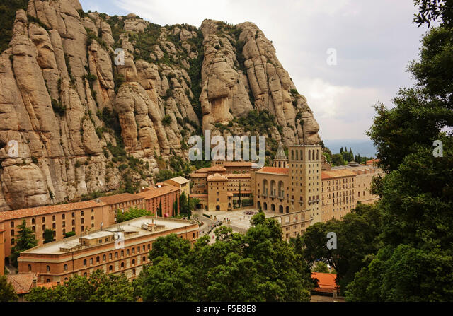 Monastery, Mountain of Montserrat, near Barcelona, Catalunya, Spain, Europe - Stock Image