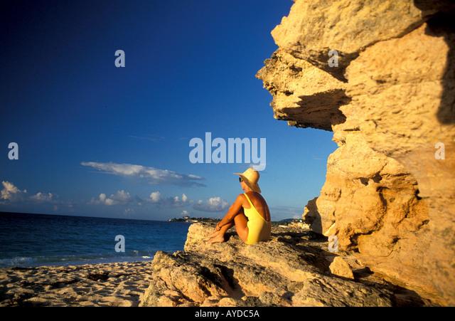 St Maarten Cupecoy Beach - Stock Image